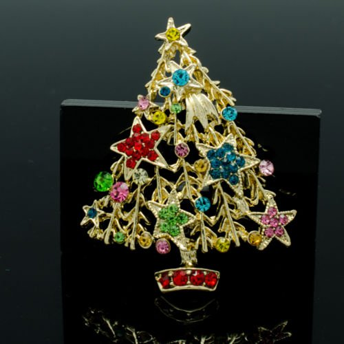 Art Deco Mix Christmas Tree Brooch Pins Gift Party Star Rhinestone Crystals 5456