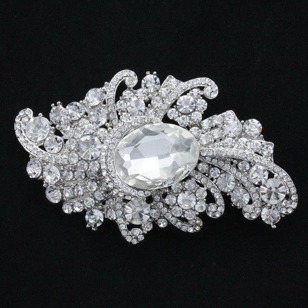 """Charming Clear Drop Flower Brooch Pin 3.7""""Rhinestone Crystal Bridal Wedding 4514"""