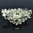 Wedding Jewelry Butterfly Flower Hair Comb W/ Clear Rhinestone Crystals 4907