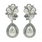 Pearl Flower Earring Pierced Austrian Crystal Zircon Dangle  Women SEA0905