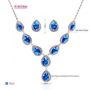 Rhinestone Crystal Zircon Drop Flower Necklace Earring Set Bridal Jewelry 08575