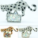 Rhinestone Crystal Leopard Panther on Hill Brooch Broach Pin 3 Colors FA3180