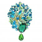 "Rhinestone Crystals Jade Green Flower Dangle Brooch Broach Pin Jewelry 3.9"" 6022"