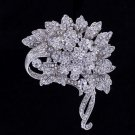 Wedding Bridal Leaf Flower Brooch Accessories Clear Rhinestone Crystal 5842