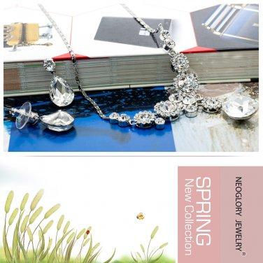 Neoglory Jewelry Flower Necklace Earring Set Rhinestone Crystal Women 5727