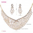 Rhinestone Crystals Imitated Pearl Necklace Earrings Set Women Jewelry 02880