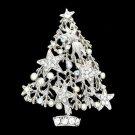 Art Deco Clear Christmas Tree Brooch Pin Gift Party Star Rhinestone Crystal 5456