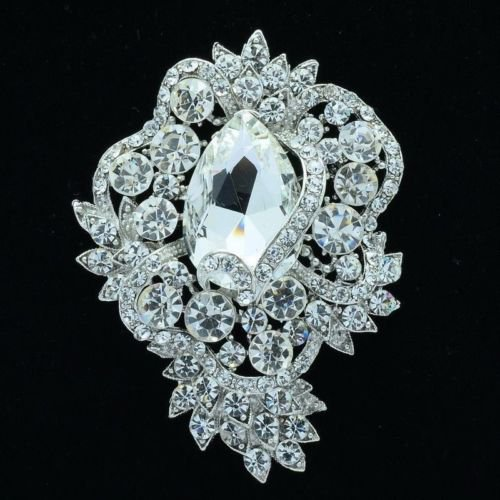 "VTG Style Rhinestone Crystals Drop Flower Brooch Broach Pins 3.0"" 5 Colors 6039"