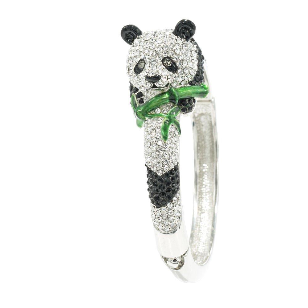 Clear Gold Rhinestone Crystals Panda Bracelet Bangle Cuff JKCA0937M