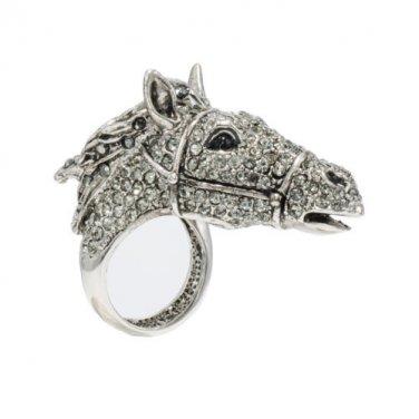 Animal Gray Swarovski Crystals Horse Cocktail Ring Size 7#8#9#  SR1800
