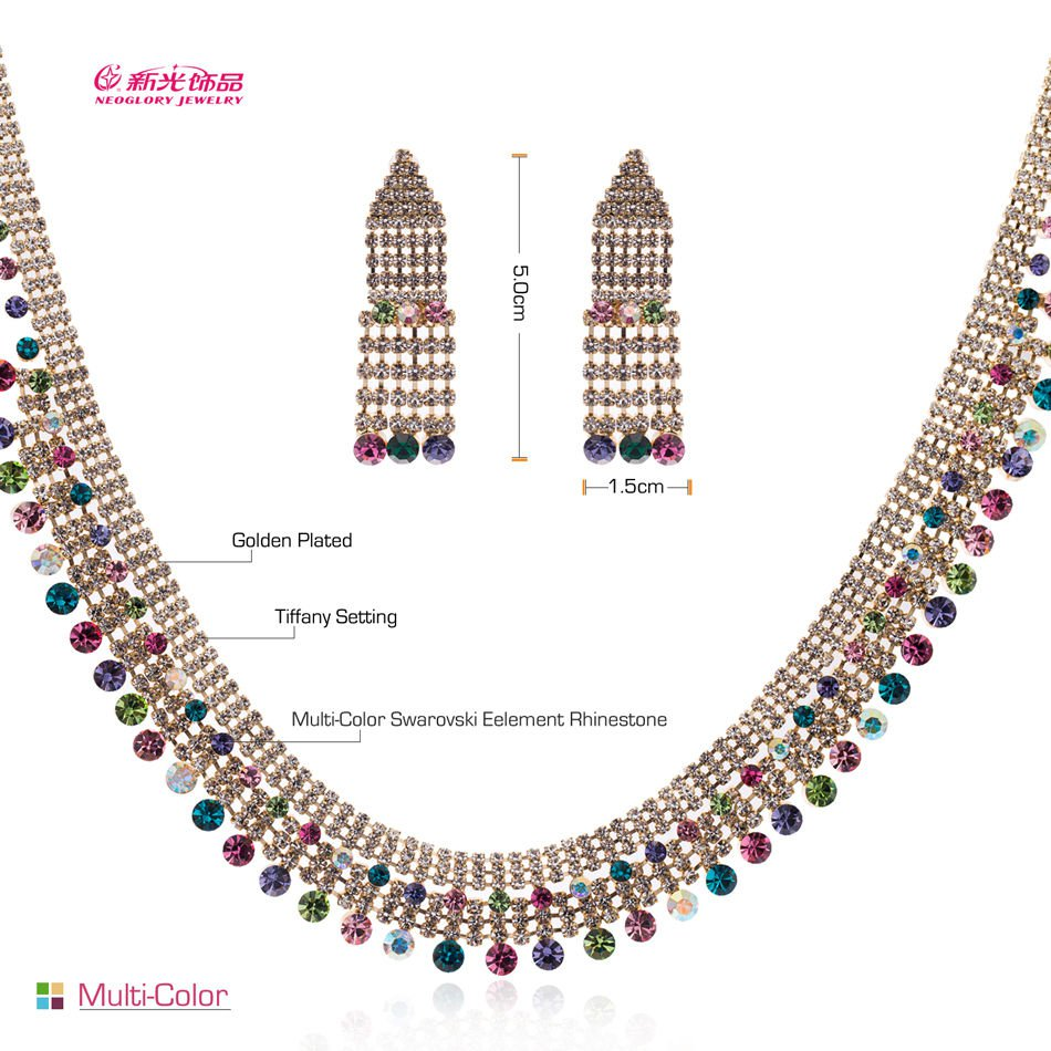 2 Colors Rhinestone Crystals Drop Necklace Earrings Set for Women Jewelry 08876