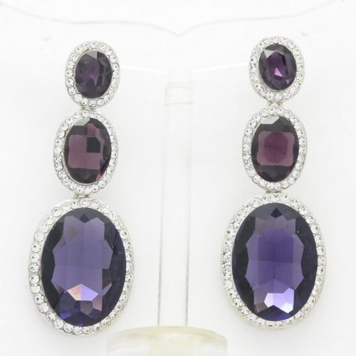 Purple Rhinestone Crystal Oval Glass Drop Dangle Pierced Earring Prom 130326