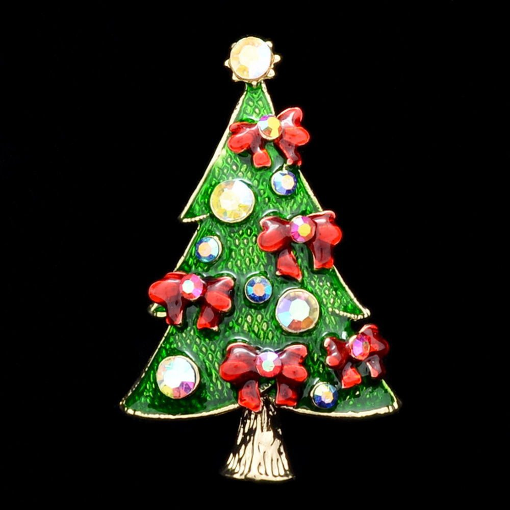 Gorgeous Mix Rhinestone Crystal Flower Christmas Tree Brooch Pin Gift Party 0510