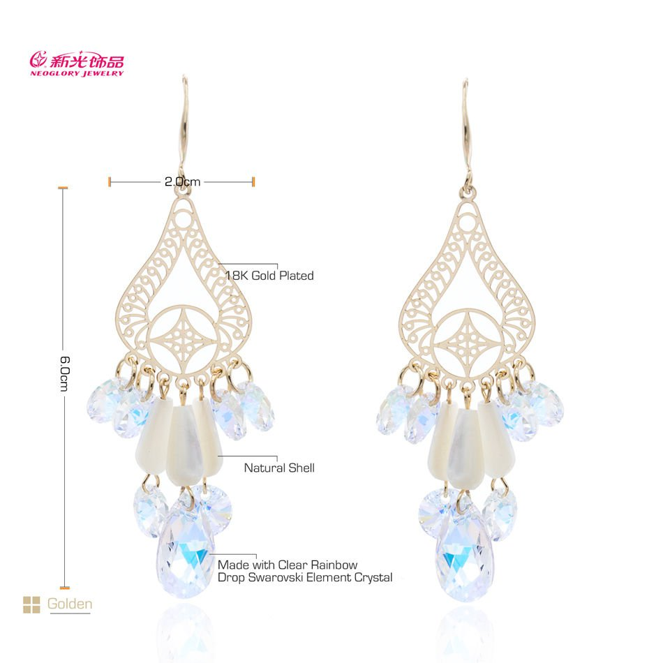 High Sparkly Austrian Crystal Natural Shell Drop Dangle Earrings for Women 01236