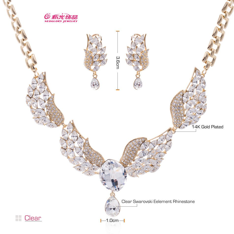 3 Color Chic Wing Style Swarovski Crystal Necklace Earrings Set Jewelry 03116