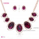 2 Colors Rhinestone Crystals Drop Necklace Earrings Set for Women Jewelry 03106