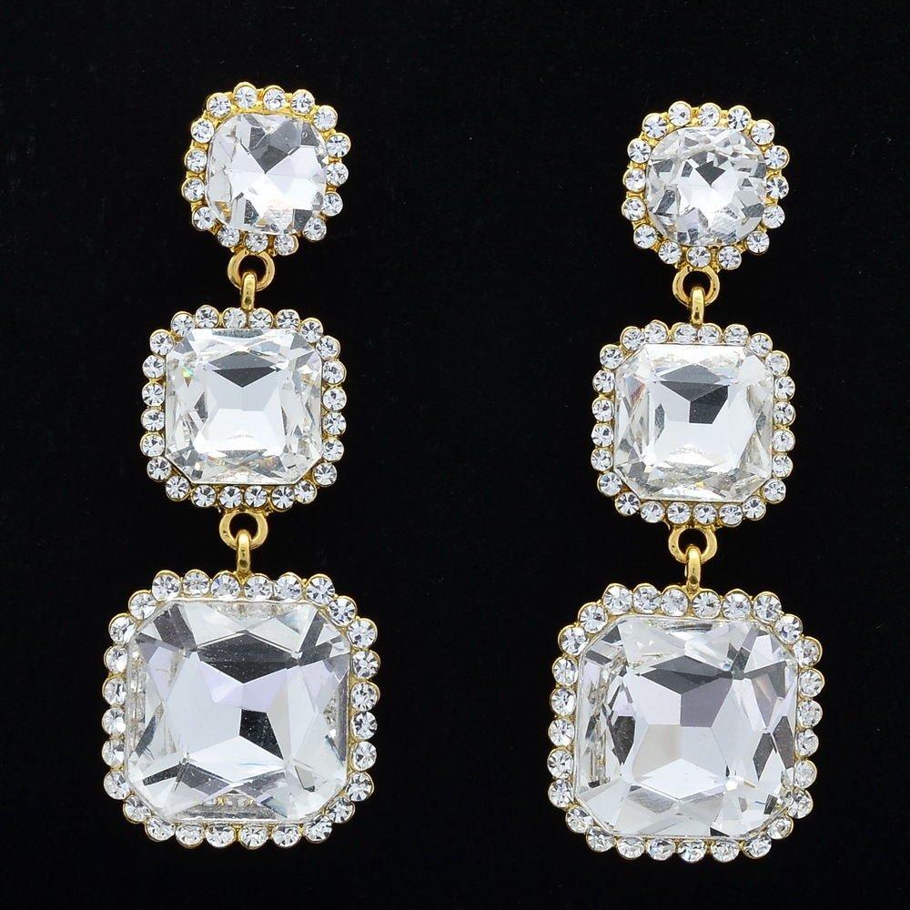 Rhinestone Crystals Bridal Square Drop Pierced Earrings Wedding Gold Tone 141525
