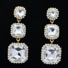 Rhinestone Crystals Bridal Square Drop Pierced Earrings Wedding Gold Tone 141525