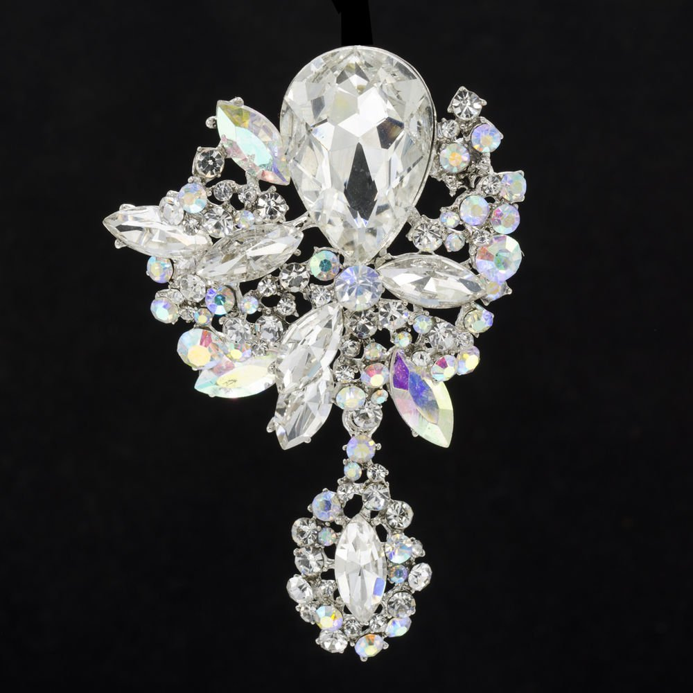 """New Rhinestone Crystals Turquoise Flower Brooch Broach Pin 3.2""""  6146"""