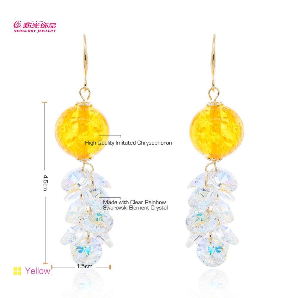 Sparkly Austrian Crystal Imitated Chrysophoron Drop Dangle Earrings Women 01022