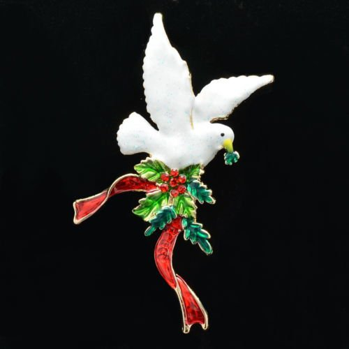 Rhinestone Crystal  Red Ribbon Peace Dove Bird Leaves  Brooch Broach Pin P5563