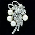 "Pretty Big Flower Pearl Brooch Broach Pin 2.9"" Rhinestone Crystals Bridal 6183"