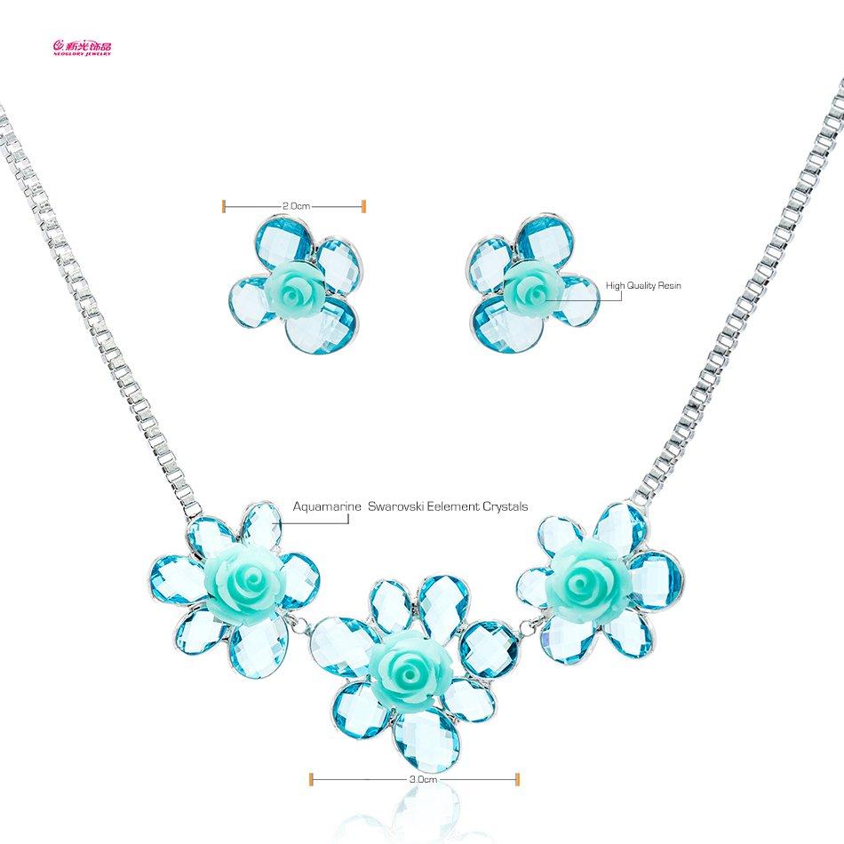 Neoglory Jewelry Pearl Flower Necklace Earring Set Rhinestone Crystal Women 8959