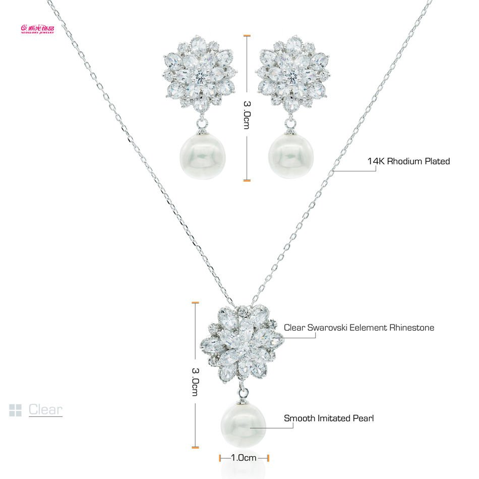 2 Color Swarovski Zircon Flower Pearl Necklace Earring Set Jewelry Women 4128