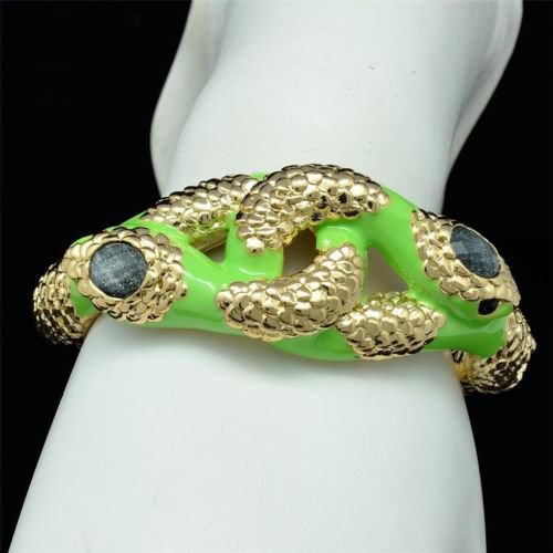 Trendy Enamel Gold Tone Stripes Animal 2 Twine Boa Snake Bracelet 529054