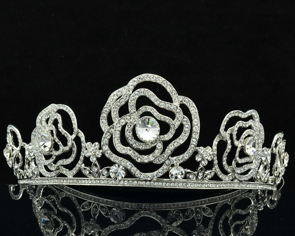 H-Quality Wedding Bridal Flower Tiaras Crown Headband Swarovski Crystals SH8567