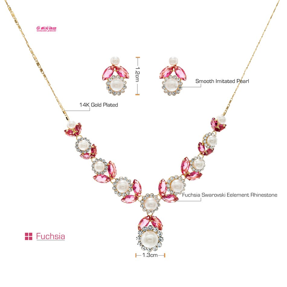 Neoglory Jewelry Pearl Flower Necklace Earring Set Rhinestone Crystal Women 8554