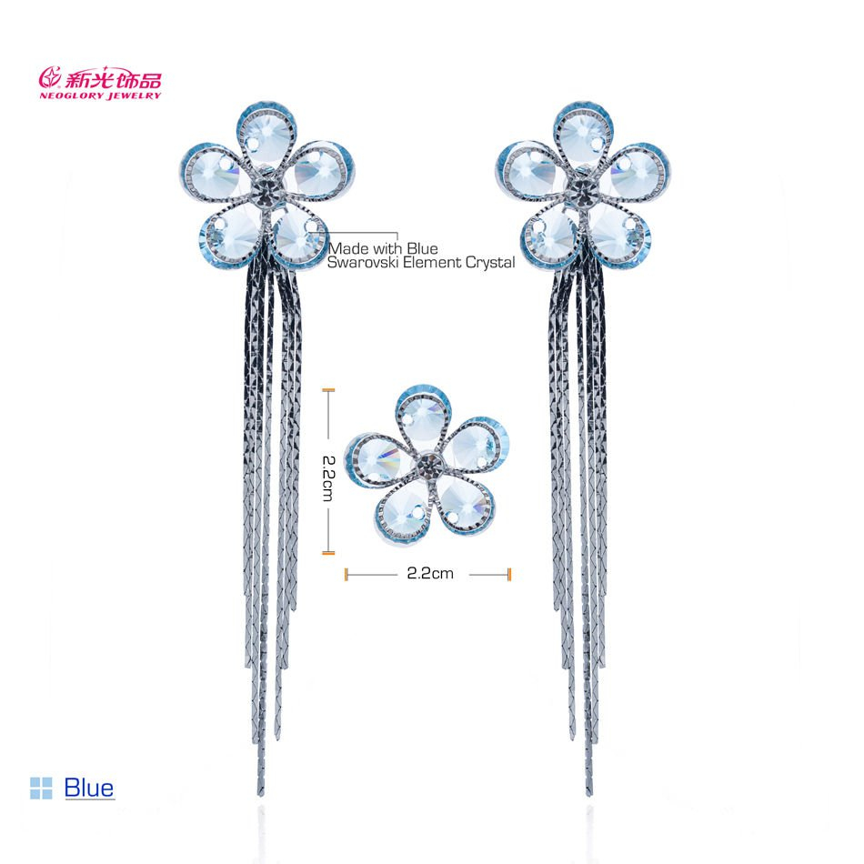 High Quality  Rhinestone Crystals Sun Flower Stud  Earrings More Colors 29189