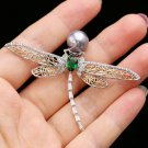 Crystal Cubic Zirconia Dragonfly Brooch Broach Pin Pendant Women Accessories
