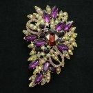 "Classic Purple Flower Brooch Pin 3.3"" Rhinestone Crystals Woman Jewelry 4080PUR"