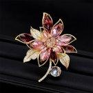 Elegant 3 Colors Cubic Zirconia Dazzling flower Brooch Pin Korean Stylish Jewelr