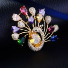 New Fashion Jewelry Accessory Cubic Zircon Animal Peacock Brooch Pin Lady Shawl