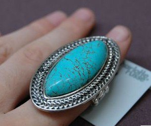big turquoise on top adjustable silver ring