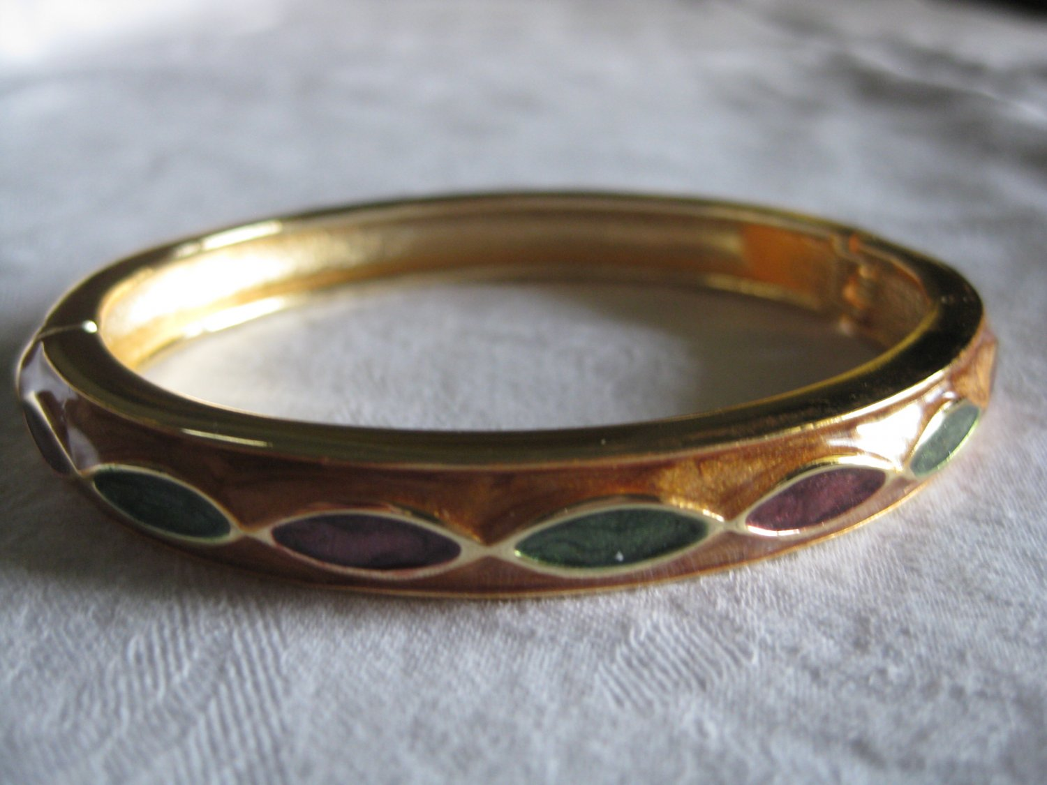Gold hand painted enamel bangle