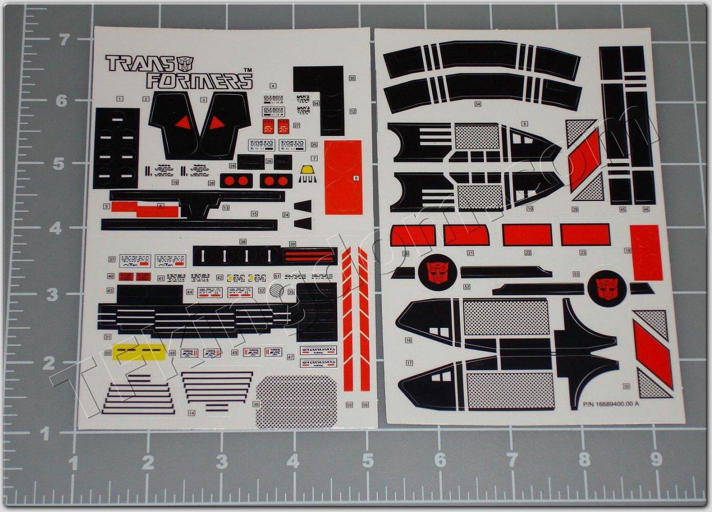 Transformers G1 Jetfire Sticker Decal Sheet