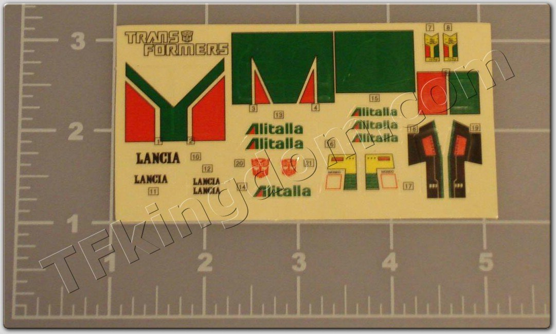 Transformers G1 Wheeljack Sticker Decal Sheet