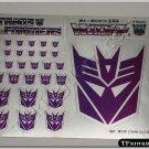 Transformers G1 Decepticon Symbol Sticker Decal Sheet