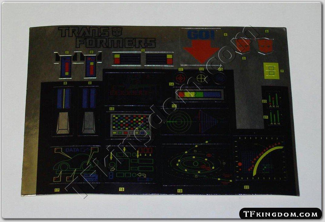 Transformers G1 Optimus Prime Sticker Decal Sheet