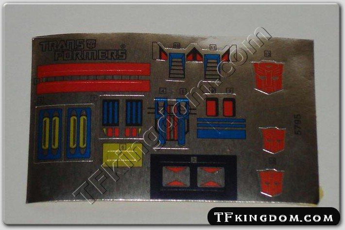 Transformers G1 Ultra Magnus Sticker Decal Sheet