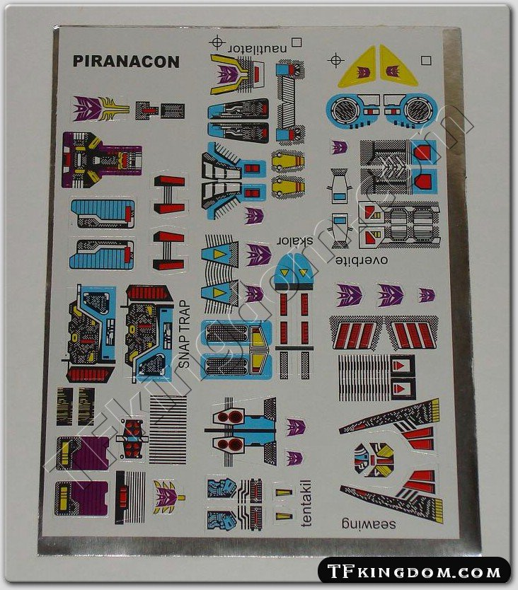 Transformers G1 Piranacon Seacons Sticker Decal Sheet Weekly Special!