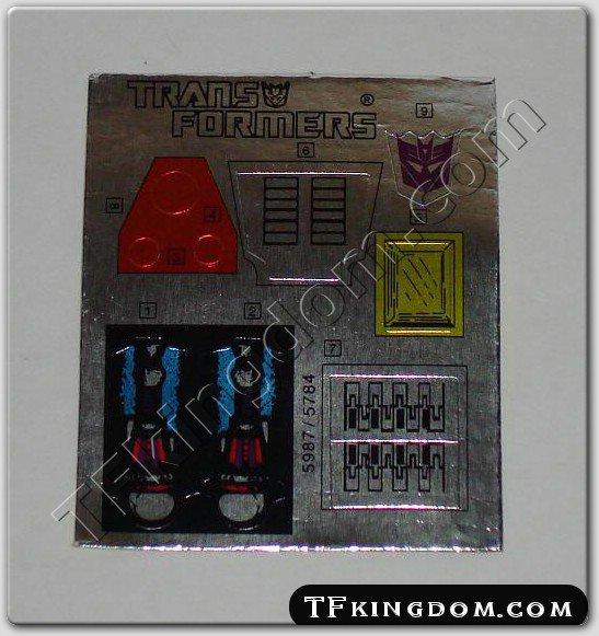Transformers G1 Scourge Sticker Decal Sheet