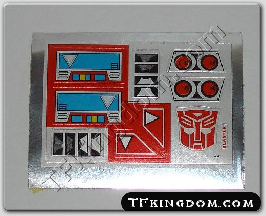 Transformers G1 Blaster Sticker Decal Sheet