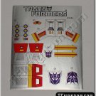 Transformers G1 Ramjet Sticker Decal Sheet