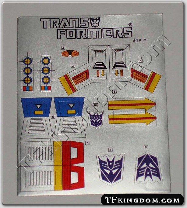 Transformers G1 Starscream Sticker Decal Sheet