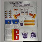Transformers G1 Starscream Sticker Decal Sheet