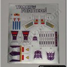 Transformers G1 Thundercracker Sticker Decal Sheet